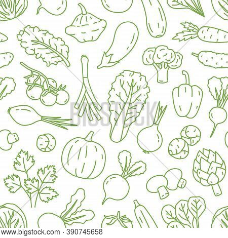 Monochrome Line Art Seamless Pattern With Various Organic Vegetables. Repeatable Background With Hea