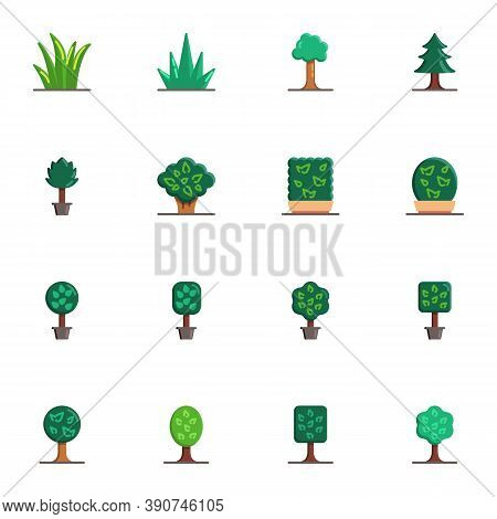 Plants And Trees Collection, Flat Icons Set, Colorful Symbols Pack Contains - Green Tree Leaves, Pot