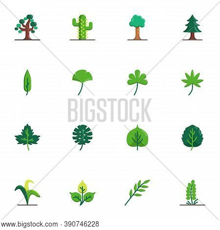 Tree And Plants Collection, Flat Icons Set, Colorful Symbols Pack Contains - Maple Tree Leaf, Succul