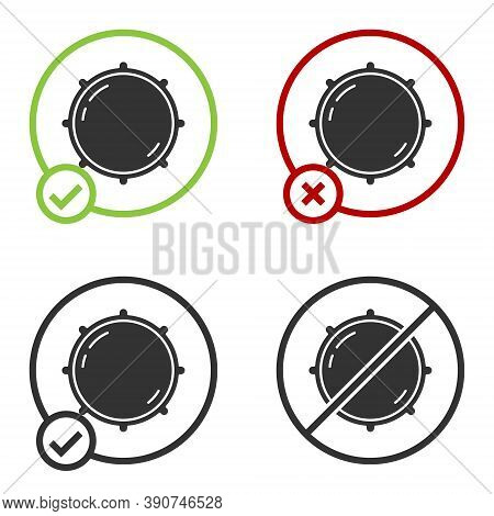Black Dial Knob Level Technology Settings Icon Isolated On White Background. Volume Button, Sound Co