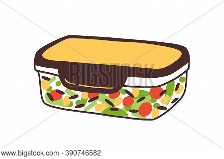 Packed Hermetic Eco Friendly Glass Container. Reusable Lunchbox With Homemade Food. Sustainable Bent