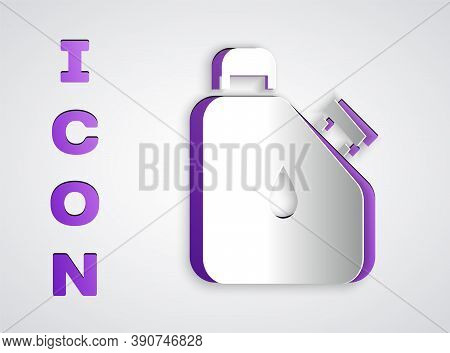 Paper Cut Canister For Flammable Liquids Icon Isolated On Grey Background. Oil Or Biofuel, Explosive