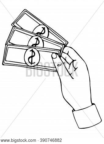 Vector Isolated Element. Hand Holding Money. Payment For Delivery, Salary
