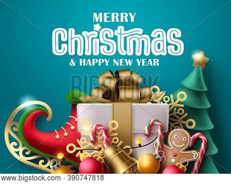 Merry Christmas Vector Banner Design. Merry Christmas Greeting Text With Colorful Xmas Elements Like