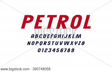 Oblique Sans Serif Font. Letters And Numbers For Logo And Headline Design. Isolated On White Backgro