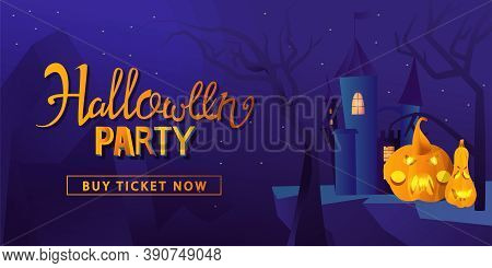 Halloween Party Design Poster, With Pumpkin, Gloomy Castle And Lettering. Vector Illustration. Trick