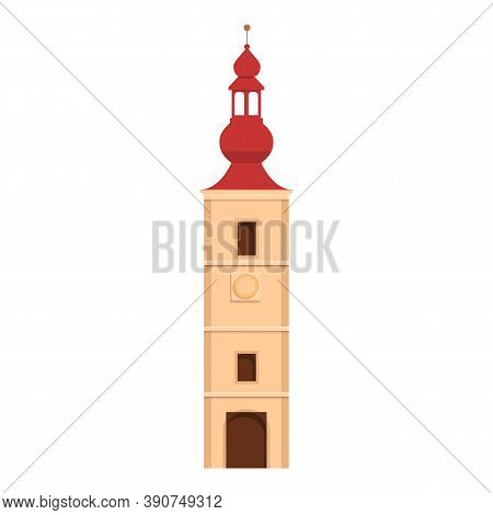 Slovenia City Tower Icon. Cartoon Of Slovenia City Tower Vector Icon For Web Design Isolated On Whit