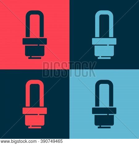 Pop Art Led Light Bulb Icon Isolated On Color Background. Economical Led Illuminated Lightbulb. Save