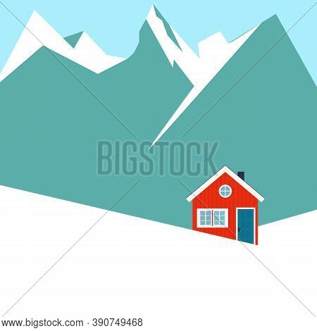Winter Snowy Landscape With Mountains And Country House. Flat Cartoon Style Vector Illustration.