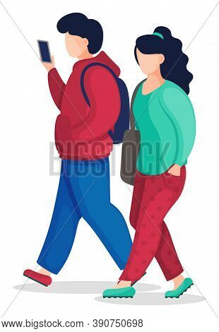 Poirtrait Of Cartoon Vector Characters In Flat Style Isolated At White Background. Faceless Woman Wi