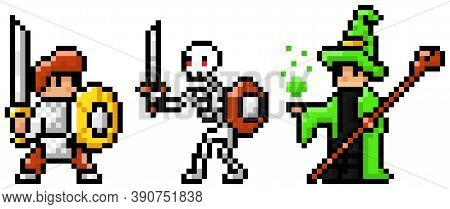 Pixel Art Style Character In Game Arcade Play Vector. Man With Shield And Sword Skeleton And Wizard,