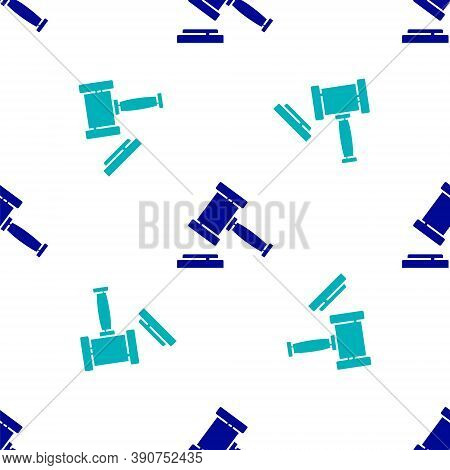 Blue Judge Gavel Icon Isolated Seamless Pattern On White Background. Gavel For Adjudication Of Sente