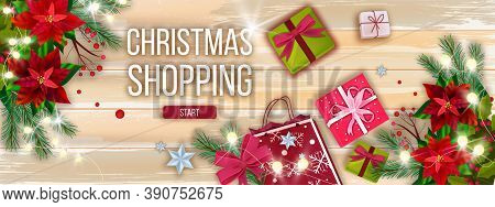 Christmas Sale Vector Banner With Packages, Gift Boxes, Poinsettia Leaves, Garland Lights. X-mas Win