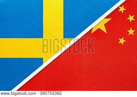 Kingdom Of Sweden And China Or Prc, Symbol Of National Flags From Textile. Relationship, Partnership