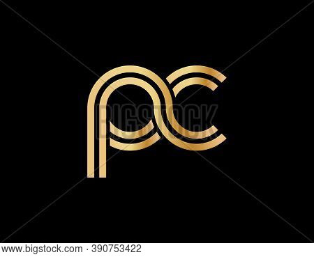 Lowercase Letters P And C. Flat Bound Design In A Golden Hue For A Logo, Brand, Or Logo. Vector Illu