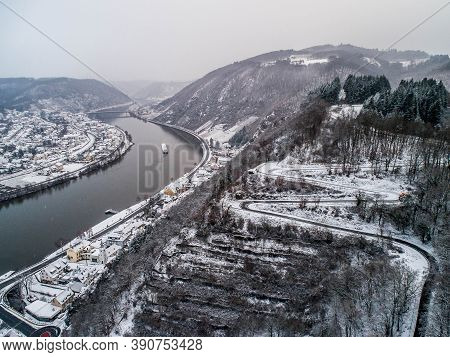 Seasons Concept Winter Aerial View Of The Mosel Village Brodenbach In Germany On A Misty Day