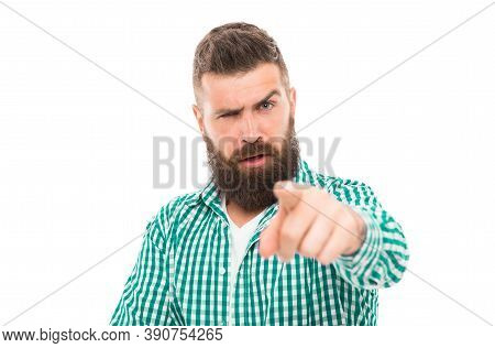 Hey You. Well Groomed Hipster Looking At Camera. Hipster With Mustache And Long Beard. Man Mature Be
