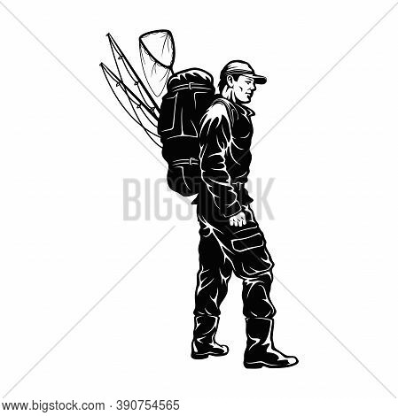 For Fishing - Man With Backpacks And Fishing Rods - Vector Illustration Of Cartoon Man Fisherman