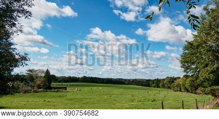 A View Of The French Countryside , Cloudy Blue Sky