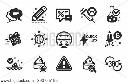 Quickstart Guide, Sun Cream And 360 Degree Icons Simple Set. Logistics Network, Brand Contract And M