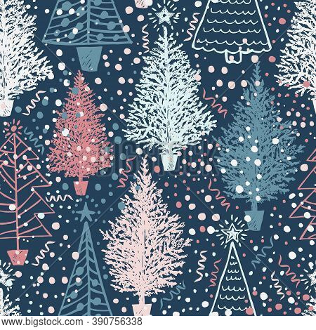 Seamless Vector Christmas Pattern With Christmas Abstract Trees And Snow On Blue. Vector Illustratio