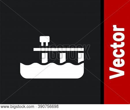 White Beach Pier Dock Icon Isolated On Black Background. Vector