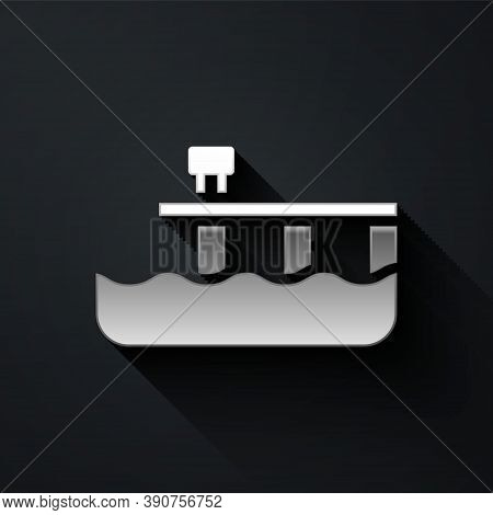 Silver Beach Pier Dock Icon Isolated On Black Background. Long Shadow Style. Vector