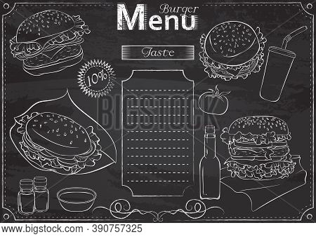 Vector Template With Burger Elements For Menu Stylized As Chalk Drawing On Chalkboard.design For A R