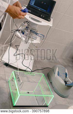 Dnepr, Ukraine- July 17, 2020: Bone Densitometer Machine For Scanning Bone And Measuring Bone Minera