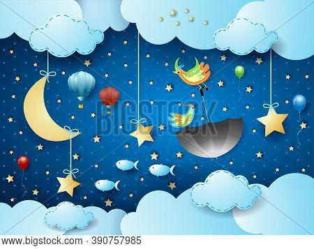 Surreal Cloudscape By Night With Flying Umbrella And Fishes. Vector Illustration Eps10