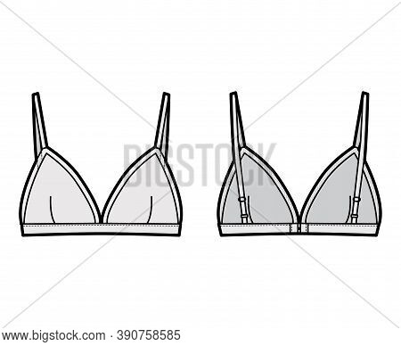Triangle Bra Lingerie Technical Fashion Illustration With Adjustable Straps, Hook-and-eye Closure, S