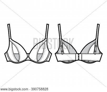 Peephole Bra Lingerie Technical Fashion Illustration With Adjustable Shoulder Straps, Underwire, Hoo