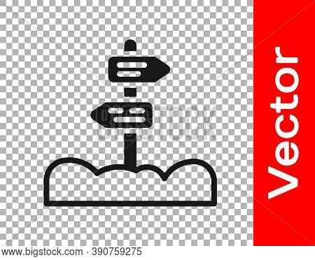 Black Road Traffic Sign. Signpost Icon Isolated On Transparent Background. Pointer Symbol. Street In
