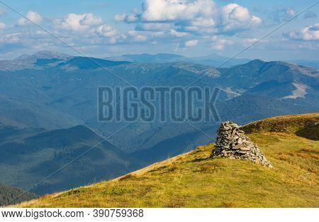 Stone pyramid in Carpathian mountains, Ukraine