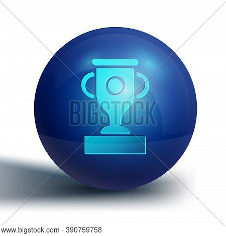 Blue Award Cup Icon Isolated On White Background. Winner Trophy Symbol. Championship Or Competition