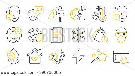 Set Of Science Icons, Such As Face Accepted, Freezing, Augmented Reality Symbols. World Medicine, Or