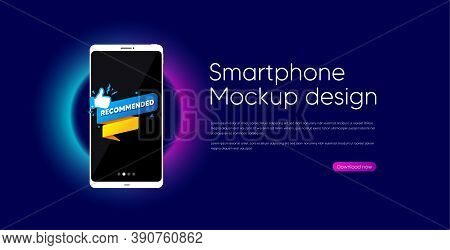 Recommended Paper Banner. Mobile Phone Vector Mockup. Best Deal Tag. Bubble With Thumbs Up Icon. Sma