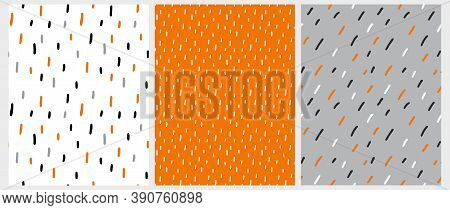 Simple Geometric Vector Patterns Set. Hand Drawn Irregular Spots Isolated On A White, Orange And Gra