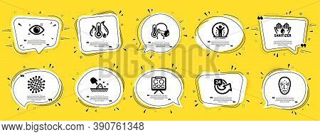 Medical Icons Set. Speech Bubble Offer Banners. Yellow Coupon Badge. Included Icon As Skin Moisture,
