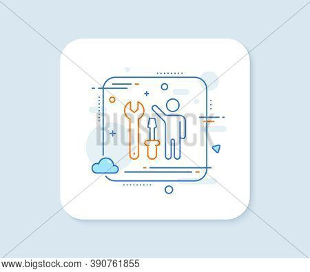 Spanner Tool Line Icon. Abstract Square Vector Button. Repairman Service Sign. Fix Instruments Symbo