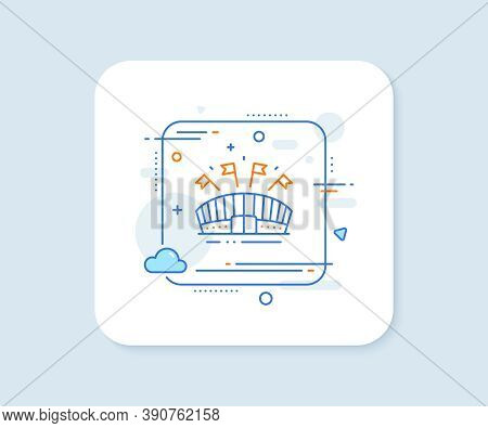 Sports Arena Line Icon. Abstract Square Vector Button. Stadium With Flags Sign. Sport Complex Symbol