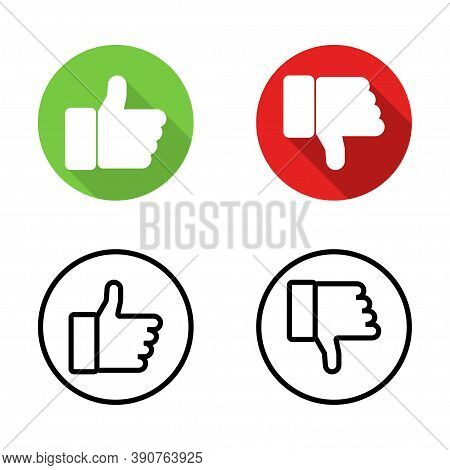 Like Icons. Thumb Up And Down Icon. Thumb Up And Thumb Down Vector Icons. Like Symbols. Vector Illus