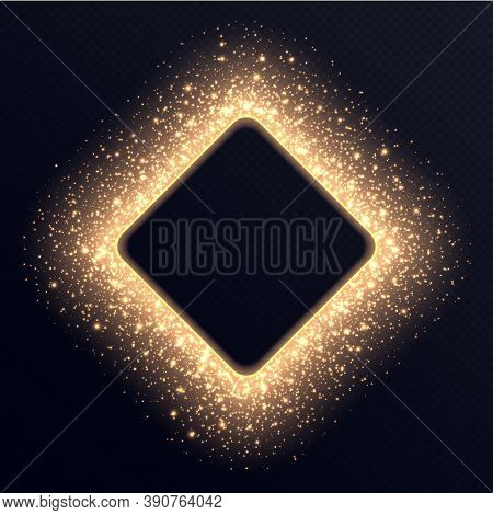Golden Rhombus Frame With Sparkles And Flares, Abstract Luminous Particles, Background With Bright S