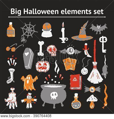 Halloween Elements Cartoon Set Of Handdrawing Magical Elements. Witch Hat, Bat, Skull, Candle, Pumpk