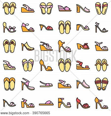 Sandals Icons Set. Outline Set Of Sandals Vector Icons Thin Line Color Flat On White