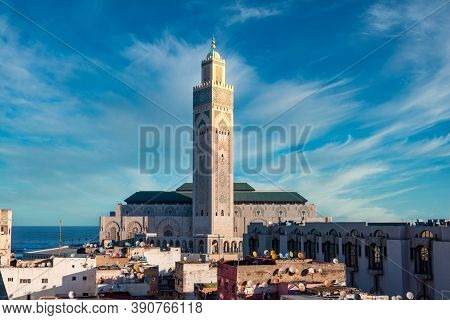 Hassan Ii Mosque, A Mosque In Casablanca, Morocco. It Is The Largest Functioning Mosque In Africa An