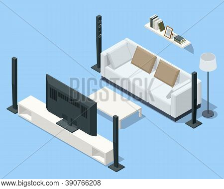 Isometric Home Theater, Audio System Isolated On White Background. Home Cinema Speaker.