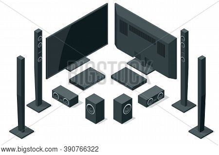 Isometric Home Theater, Audio System Isolated On White Background. Home Cinema Speaker Set.