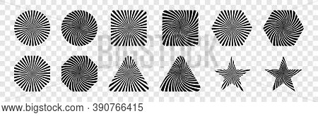 Rays, Isolated. Sun Icons. Rays Striped Patterns. Rays In Different Geometric Shape. Sunburst And St