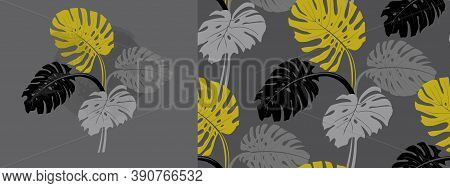 Stylish Set With Monstera Flower In A Circle And Seamless Pattern With Tropical Plants And Monstera